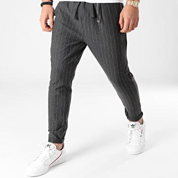 2Y Premium - Pantalon A Rayures 1048 Noir Chiné