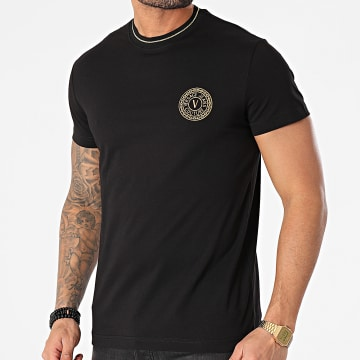 Versace Jeans Couture - Tee Shirt Round Small Embroidery B3GWA7TF-30319 Noir Doré