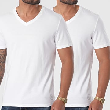 Tom Tailor - Lot De 2 Tee Shirts Col V 1008963-XX-10 Blanc