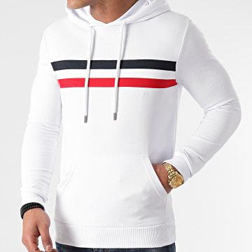 LBO - Sweat Capuche Avec Bande Tricolore 1369 Blanc