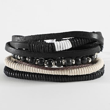 Deeluxe - Bracelet Multi-rangs Apache Noir Blanc