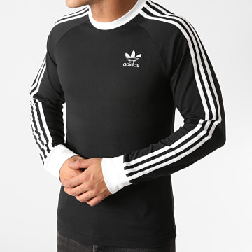 Adidas Originals - Tee Shirt Manches Longues A Bandes 3 Stripes GN3478 Noir