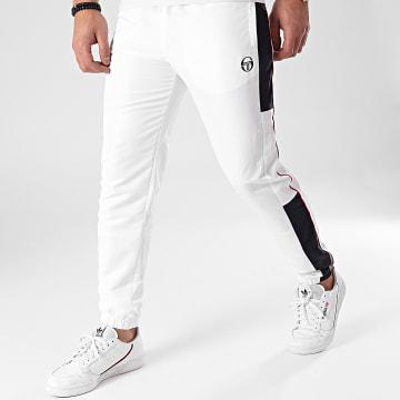 Sergio Tacchini - Pantalon Jogging A Bandes Abita 39145 Blanc Bleu Marine