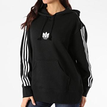 Adidas Originals - Sweat Capuche Femme A Bandes GN2931 Noir