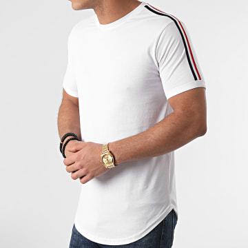 LBO - Tee Shirt Oversize Avec Bandes Bleu Blanc Rouge 1391 Blanc
