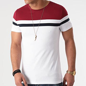 LBO - Tee Shirt Tricolore 1431 Bordeaux Bleu Marine Blanc