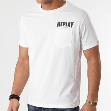 Replay - Tee Shirt Poche M3408-23156G Blanc
