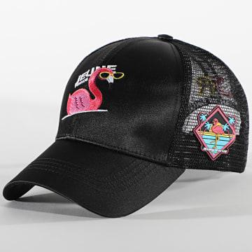 Jeune Riche - Casquette Trucker Flamingo Noir
