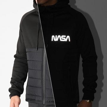 NASA - Veste Zippée Capuche Worm Réfléchissant Noir