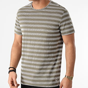 Blend - Tee Shirt A Rayures 20711681 Vert Kaki Blanc