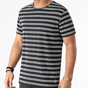 Blend - Tee Shirt A Rayures 20711681 Noir Gris