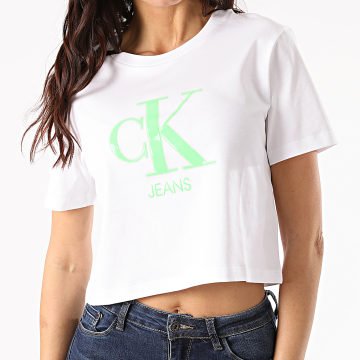 Calvin Klein - Tee Shirt Crop Femme Gel Print Monogram Logo 5312 Blanc