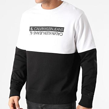 Calvin Klein - Sweat Crewneck Mirrored Logo Colorblock 7154 Noir Blanc