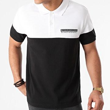 Calvin Klein - Polo Manches Courtes Micro Mirrored Logo 7284 Noir Blanc