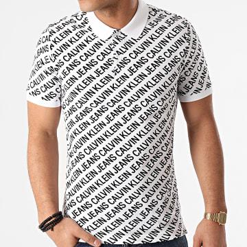 Calvin Klein - Polo Manches Courtes Diagonal Logo AOP 7444 Blanc