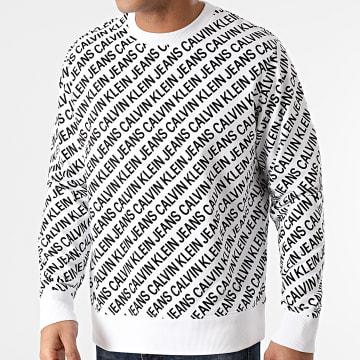 Calvin Klein - Sweat Crewneck AOP Diagonal Logo 8060 Blanc