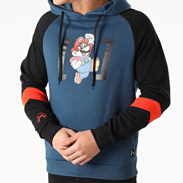 Capslab - Sweat Capuche Mario Bleu Marine Noir