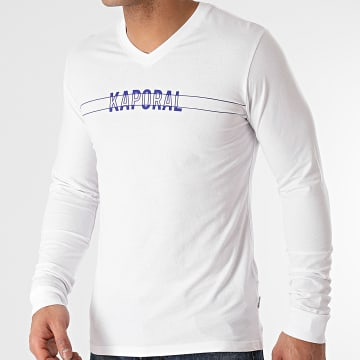Kaporal - Tee Shirts Manches Longues Col V TINAM12 Blanc