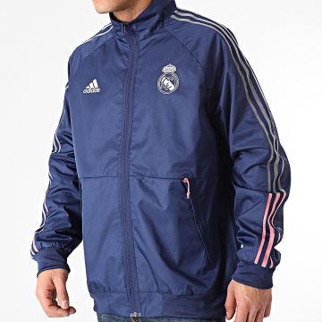 Adidas Performance - Veste Zippée A Bandes Real Madrid Anthem FR3880 Bleu Marine