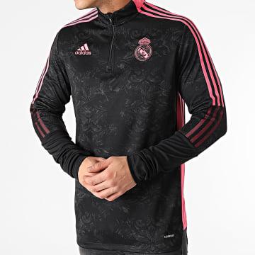 Adidas Performance - Tee Shirt De Sport Manches Longues A Bandes Real Madrid AOP GL0040 Noir Renaissance Floral
