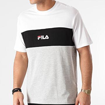 Fila - Tee Shirt Anoki Blocked 688468 Blanc Noir Gris Chiné