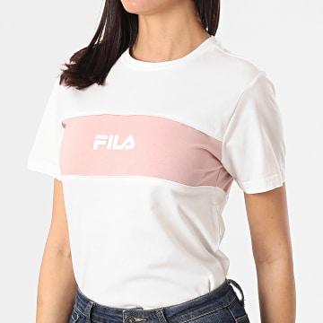 Fila - Tee Shirt Femme Anokia Blocked 688488 Blanc Rose