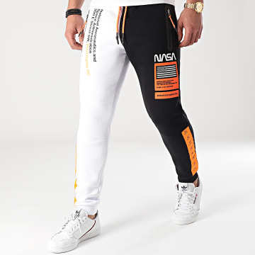 Final Club - Pantalon Jogging Half Limited Edition Noir Blanc Détails Orange Fluo