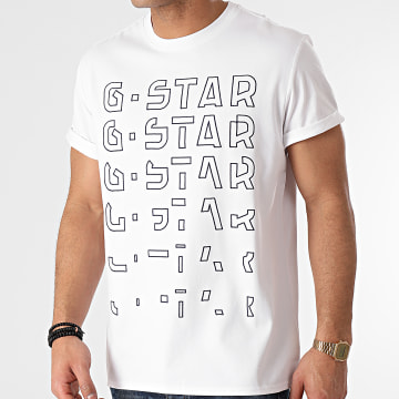 G-Star - Tee Shirt Embroidery Gradient Graphic Lash D19223-336 Blanc