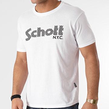 Schott NYC - Tee Shirt Racing TSLOGO Blanc