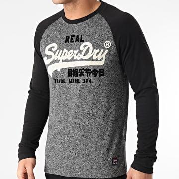 Superdry - Tee Shirt Manches Longues Vintage Logo Duo Raglan M6010456A Gris Anthracite Chiné Noir