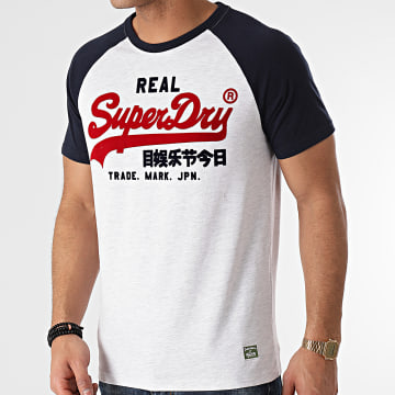 Superdry - Tee Shirt Vintage Logo Duo Raglan M1010998A Blanc Chiné Bleu Marine