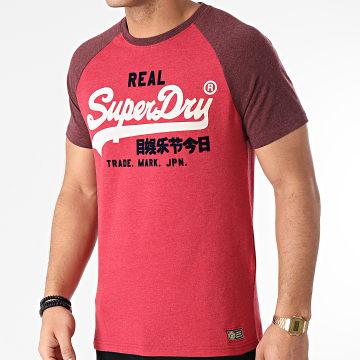 Superdry - Tee Shirt Vintage Logo Duo Raglan M1010998A Rouge Bordeaux