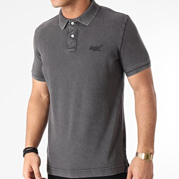 Superdry - Polo Manches Courtes Vintage Destroyed Pique M1110014A Gris Anthracite