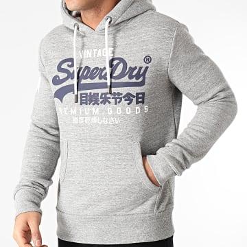 Superdry - Sweat Capuche Vintage Logo NS M2010494A Gris Chiné