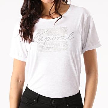 Kaporal - Tee Shirt Femme PUZZUW11 Blanc Chiné Argenté