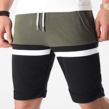 LBO - Short Jogging Tricolore 1502 Kaki Blanc Noir
