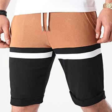 LBO - Short Jogging Tricolore 1506 Camel Blanc Noir