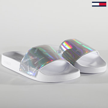Tommy Jeans - Claquettes Femme Flag 1379 White Iridescent
