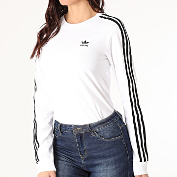 Adidas Originals - Tee Shirt Manches Longues Femme A Bandes Adicolor GT4261 Blanc