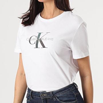 Calvin Klein - Tee Shirt Femme Reflective Monogram 5316 Blanc