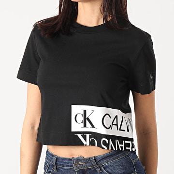Calvin Klein - Tee Shirt Femme Mirrored Logo Boxy 5324 Noir