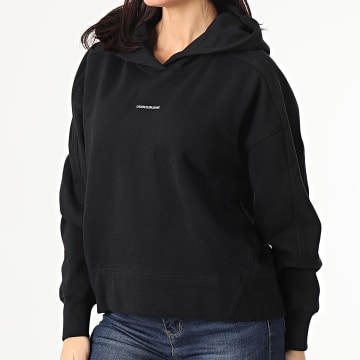 Calvin Klein - Sweat Capuche Femme Micro Branding 5462 Noir