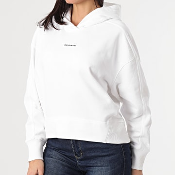 Calvin Klein - Sweat Capuche Femme Micro Branding 5462 Blanc