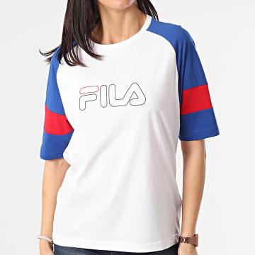 Fila - Tee Shirt Femme Tricolore Jacklyn 683283 Blanc Bleu Rouge