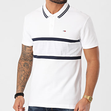 Tommy Hilfiger - Polo Manches Courtes Mix Media Band 0325 Blanc
