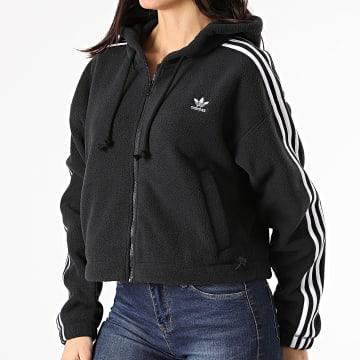 Adidas Originals - Veste Zippée Capuche Polaire Femme A Bandes Fleece GN2811 Noir