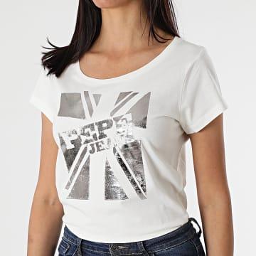 Pepe Jeans - Tee Shirt Femme Alessa PL504795 Beige Argenté