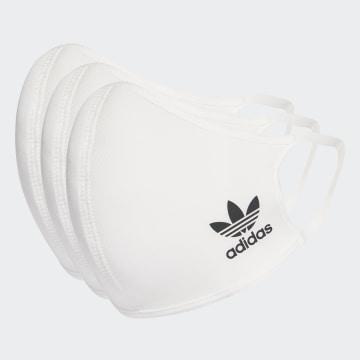 Adidas Performance - Lot De 3 Masques Sanitaires HB7855 Blanc