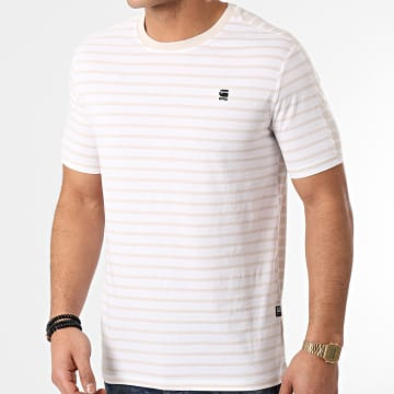 G-Star - Tee Shirt Korpaz Stripe Blanc Beige
