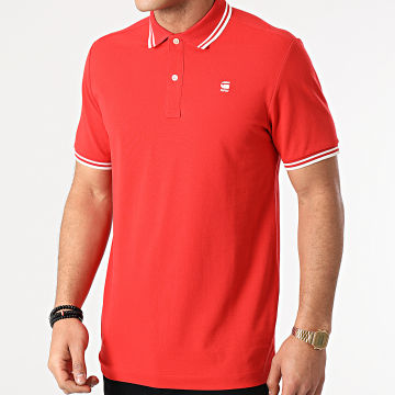 G-Star - Polo Manches Courtes Dunda Stripe Rouge